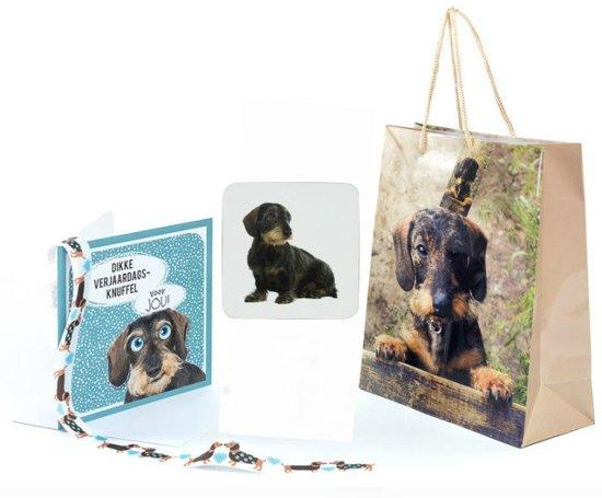 Cadeauset Teckel hond theedoek wenskaart cadeaupapier cadeaulint
