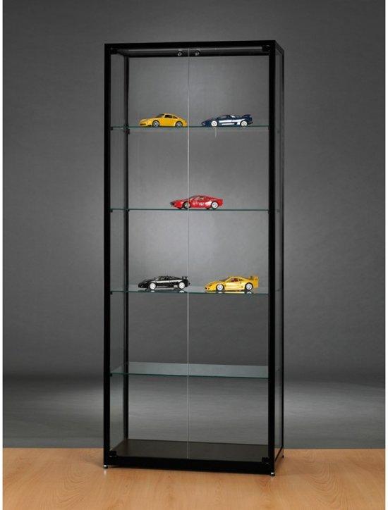 Luxe Vitrinekast Zwart 80 Cm Met Glas En Twee Draaideuren Front