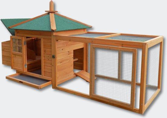 Kippenhok met buitenverblijf - 78x210x100 cm - Bruin - Hout