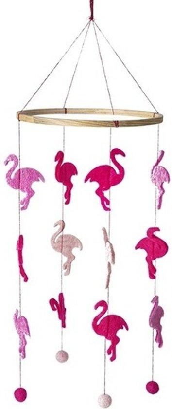Flamingo thema baby mobiel/boxmobiel 45 cm -  Hout/vilt - Babykamer/kinderkamer decoratie accessoires