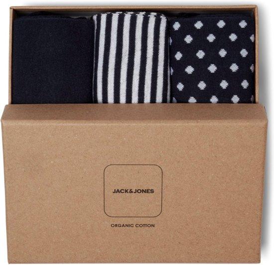 Jack & Jones - Heren 3-Pack Giftbox Sokken Navy Wit - One size