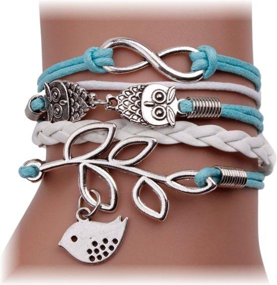 Multi Armband Infinity Uiltjes Vogel Lichtblauw