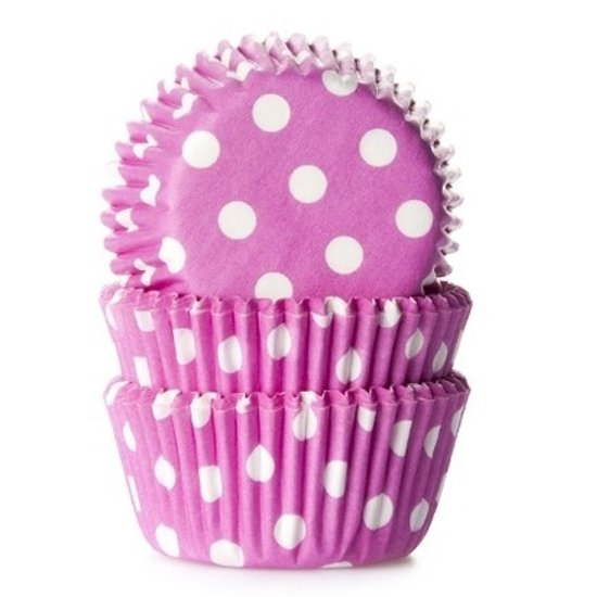 House of Marie MINI Cupcake Vormpjes Stip Roze - pk/60 Valentinaa