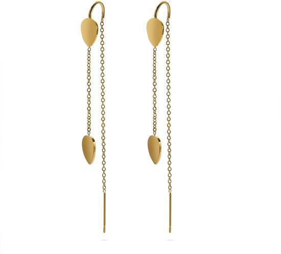 Twice As Nice Oorbellen in goudkleurig edelstaal, druppel op ketting Nvt