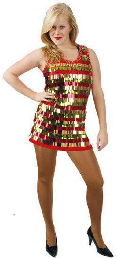 fdbcb87d1c7a9c Galajurk Pailletten Charleston jurk metallic rood - goud - groen
