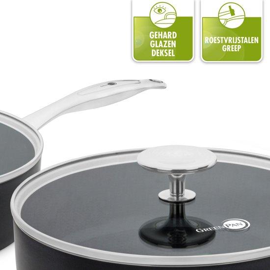 GreenPan Brussels keramische hapjespan 24 cm en koekenpan 28 cm