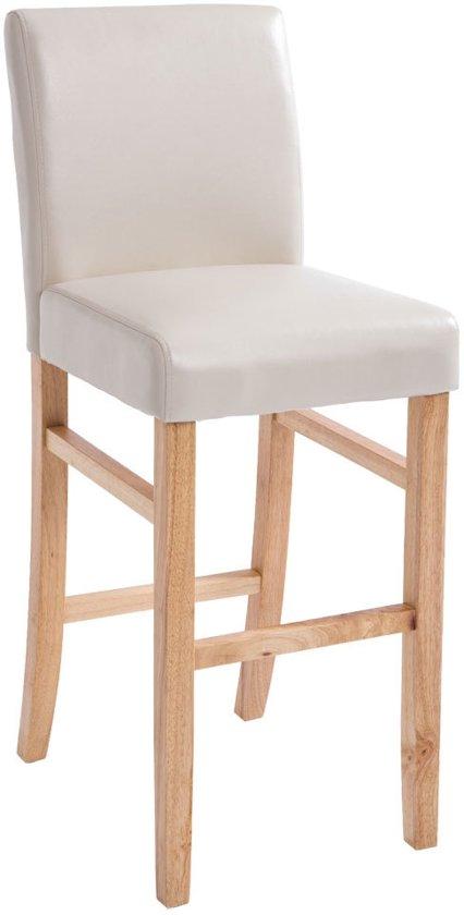 Clp Barkruk ALVIN - houten barstoel met rugleuning,  imitatieleer - natuur/crème