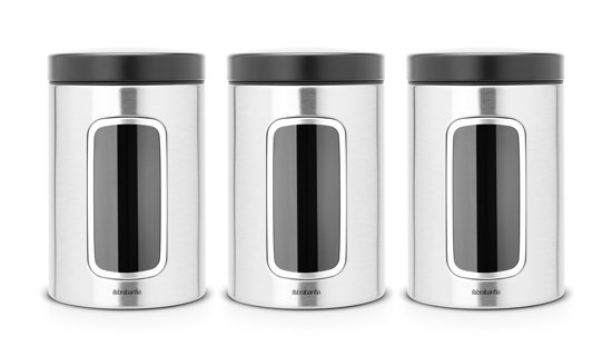 Brabantia Vensterbussen - 1,4 l - Matt Steel Fingerprint Proof - 3 stuks