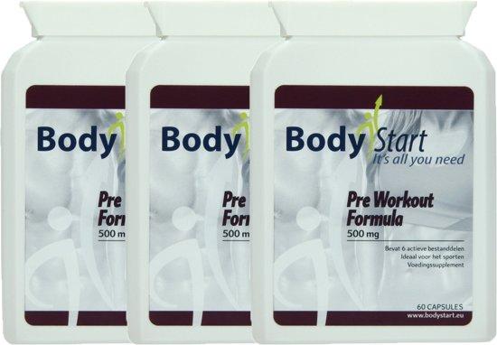 BodyStart Pre Workout Formule   VOORDEELVERPAKKING 180 Capsules   500 mg   Krachtige dosering   Exclusieve complete pre-workout   Voor maximale prestatie