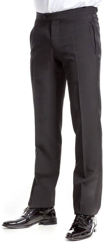 Smokingpantalon slim fit zwart zuiver scheerwol