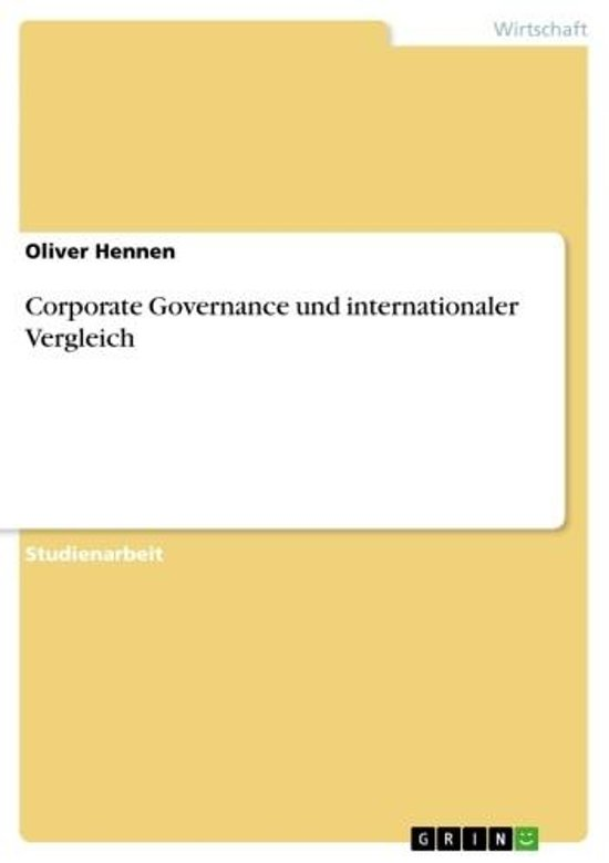 Corporate Governance und internationaler Vergleich