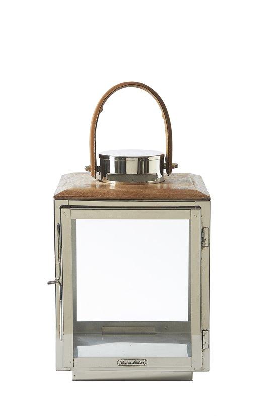 Riviera Maison - Woodhaven Lantern M - Windlicht - Zilver; Transparant - Hout; Glas; Ijzer