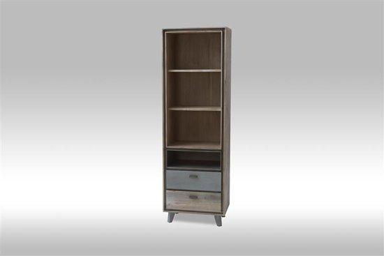 solliden marla boekenkast wandkast met 3 planken en 2 lades acaciahout bruin grijs