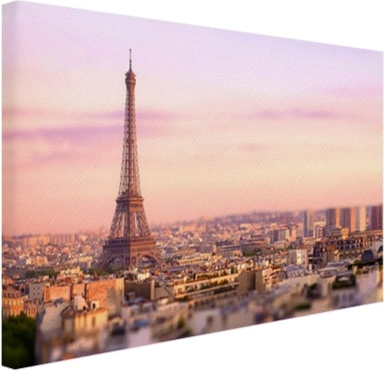 FotoCadeau.nl - Zonsondergang over Parijs Canvas 80x60 cm - Foto print op Canvas schilderij (Wanddecoratie)