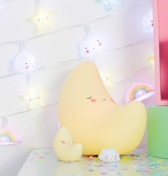 A Little Lovely Company Mini - Maanlampje - Geel - Kinder lamp - Kinderkamer lamp