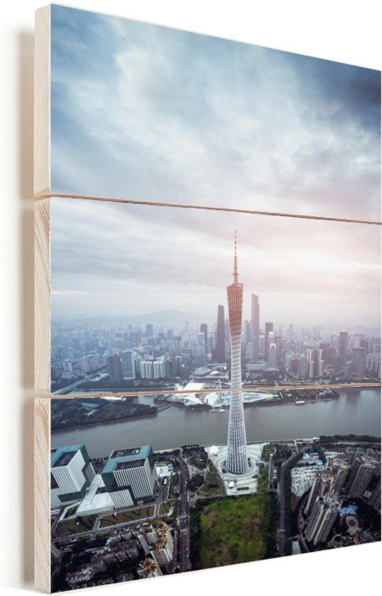 Luchtfoto over de stad Guangzhou Vurenhout met planken 30x40 cm - klein - Foto print op Hout (Wanddecoratie)