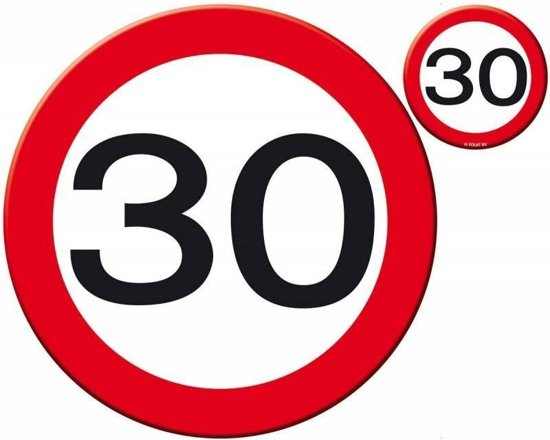 Placemats en Onderzetters 30 Jaar Verkeersbord - 4 stuks