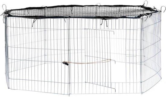 TecTake - Konijnenkooi met veiligheidsnet Ø 145cm zwart - 402392