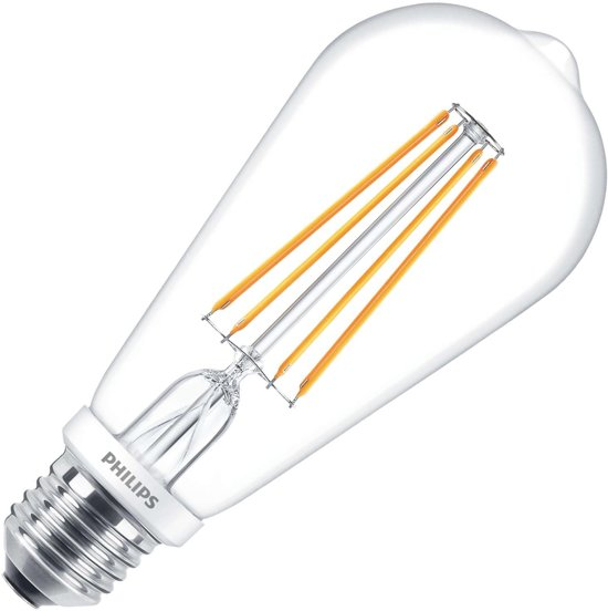 Philips Filament led Edison st64 7W = 60W E27 A++ Warm wit Dimbaar