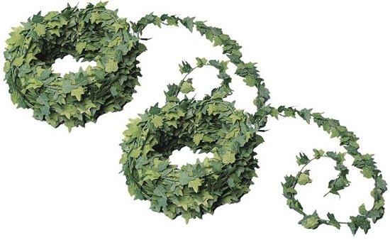 2x Mini klimop kunstplant guirlande 7,5 meter - Urban jungle - Botanisch thema decoratie slinger bruiloft/themafeest