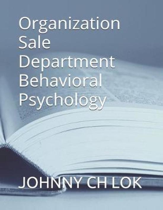Organization Sale Department Behavioral Psychology