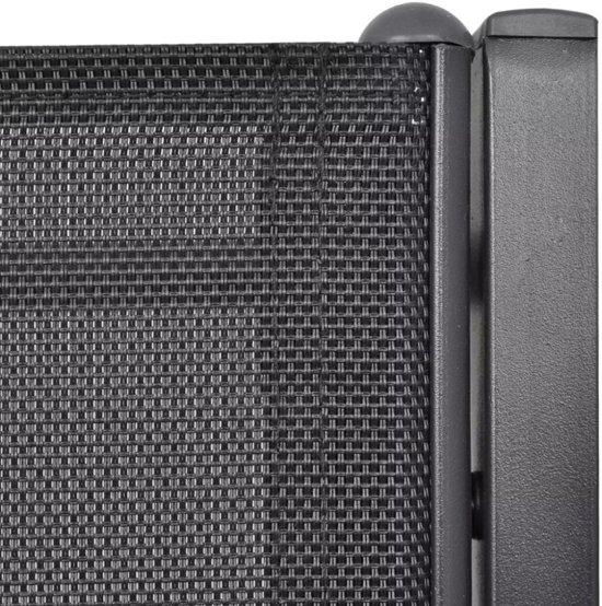 vidaXL Tuinbank tweezits 131 cm staal en textileen zwart