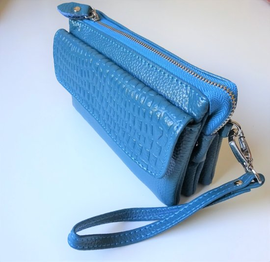 | 2 Love it Blue Aligator Tas Clutch Leer