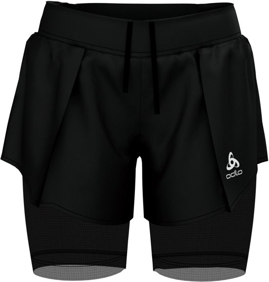 Odlo 2-In-1 Shorts Zeroweight Ceramicool Pro Dames Sportbroek - Black - Maat XS