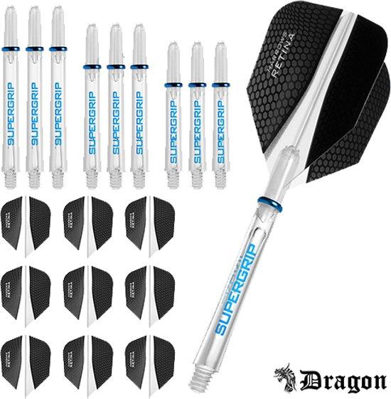 Dragon Darts – Harrows - Combi kit – Retina – 3 sets darts shafts – 3 sets darts flights - clear