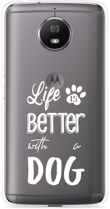Motorola Moto G5S Hoesje Life Is Better With a Dog - wit