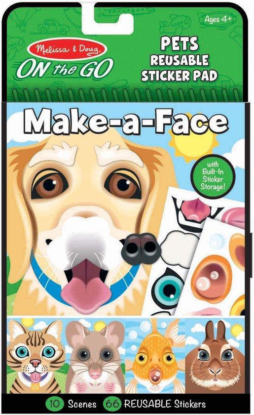 Melissa & Doug stickerboek make a face dieren