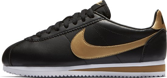 Nike Wmns Classic Cortez Leather 807471-008 Sneakers - Dames- Maat 38.5 -  Black/Metallic Gold