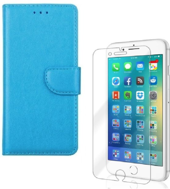 iPhone 7 Plus / 8 Plus - Bookcase turquoise - portemonee hoesje + 2X Tempered Glass Screenprotector
