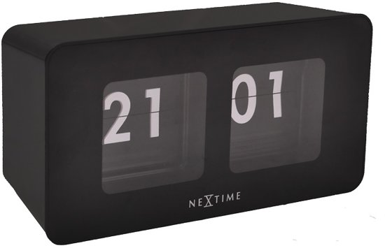 NeXtime Flipped - Klok - Flipklok - Rechthoekig - Kunststof - 17.5 x 9 cm - Zwart