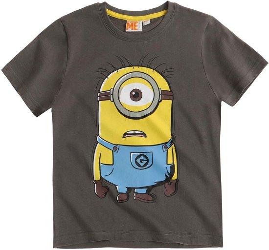 Minions-T-shirt-met-korte-mouw-grijs-maat-128