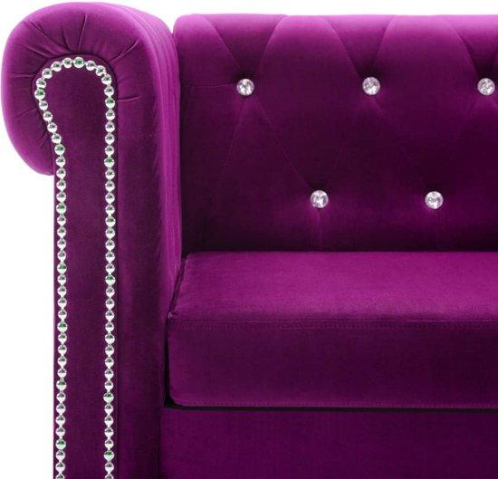 vidaXL Bank Chesterfield-stijl L-vormig 199x142x72 cm fluweel paars