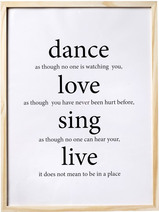 Muurteksten Op Hout.Bol Com Bloomingville Fotolijst Tekst Dance Love Sing Live