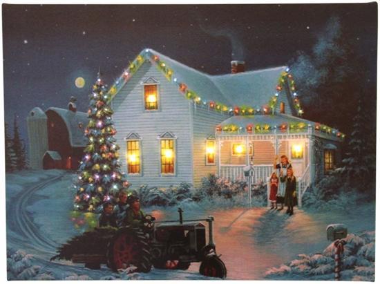 glasvezel verlichting kerst canvas op houten frame huis en kerstboom tractor met led lampjes en glasvezel