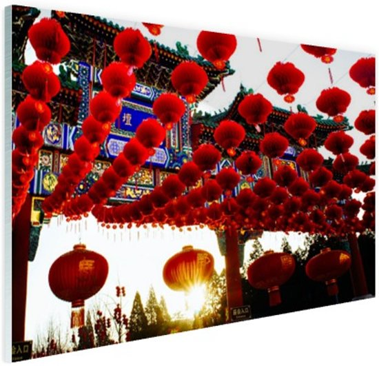 Lampionnen in Peking China Glas 60x40 cm - Foto print op Glas (Plexiglas wanddecoratie)