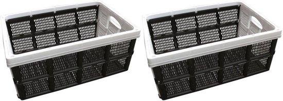 2x Zwart/witte inklapbare boodschappenkratten/opbergkratten 50 cm - Vouwkratten/boodschappenkratten - Krat voor boodschappen