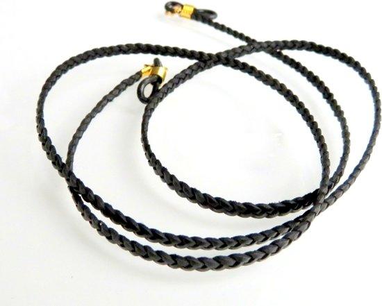 brillenkoordje van dun plat gevlochten rundleer, zwart met goudkleurige bevestiging