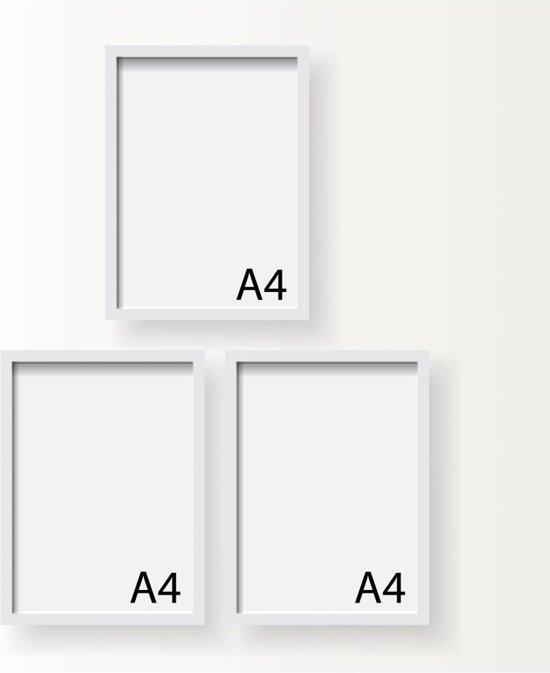 Fotolijst A4 Formaat.3x A4 Poster Frame Wissellijst Fotolijst Wit
