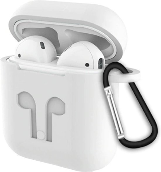 3 in 1 set! Siliconen hoesje voor Apple AirPods + strap voor Apple Airpods - Wit
