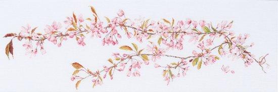 Thea Gouverneur Borduurpakket 481 Japanse Sakura bloesem - Linnen stof