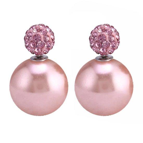 Fako Bijoux® - Oorbellen - Double Disco Dots - Parel - Roze