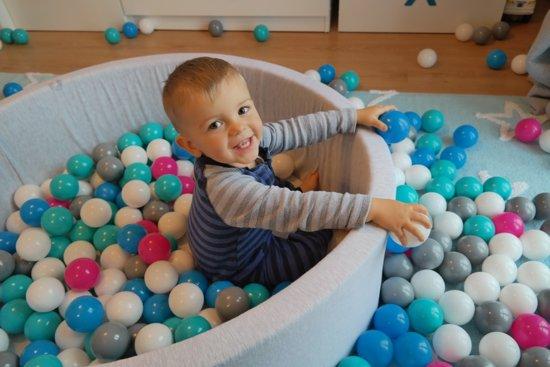 Zachte Jersey baby kinderen Ballenbak met 450 ballen,  - wit, grijs, turkoois