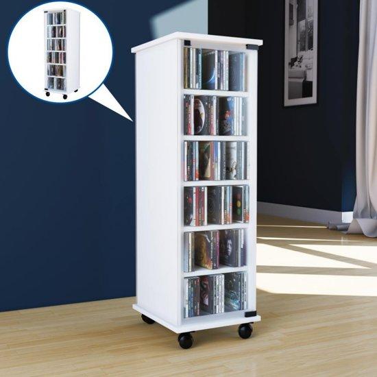 Iets Nieuws bol.com | CD DVD rek kast Valenza met deur verrijdbaar Wit &FO63