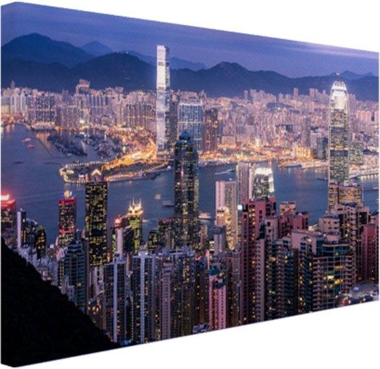 bol.com | Hong Kong verlichting Canvas 30x20 cm - Foto print op ...