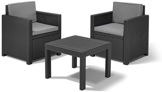 allibert balkonset victoria 3 delig wicker antraciet. Black Bedroom Furniture Sets. Home Design Ideas