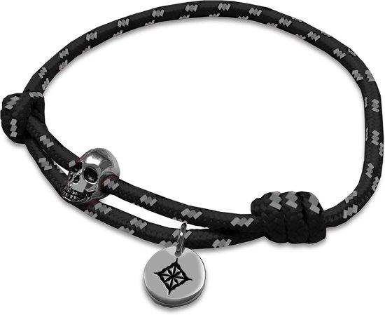 Kaliber 7KB-0072 - Heren armband - rope met staal element - skull en Kaliber logo - one size (19 cm) - zwart